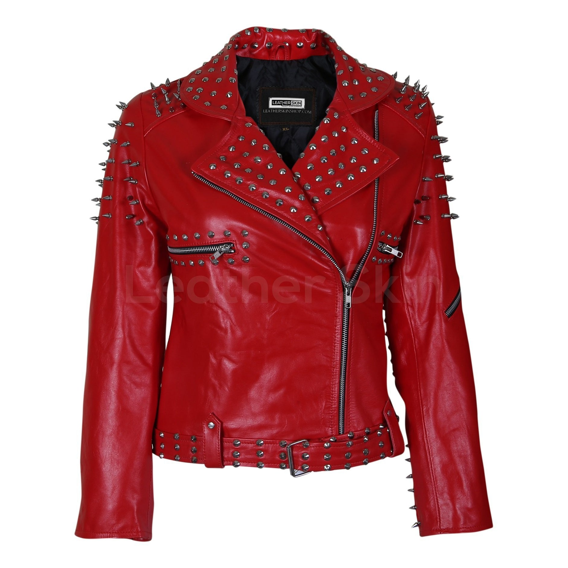 Women Red Leather Jacket with Cone and Tree Spike Studs