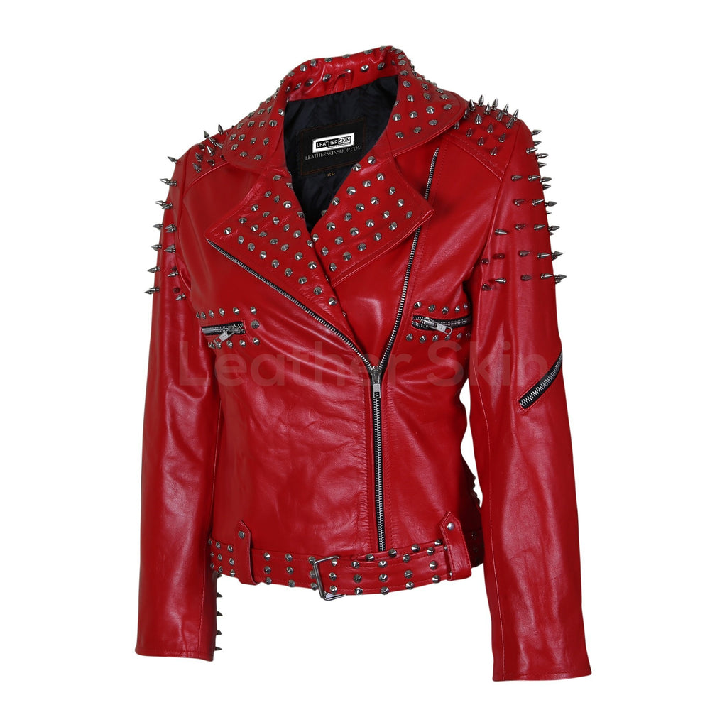 red leather jacket with tree spikes womens
