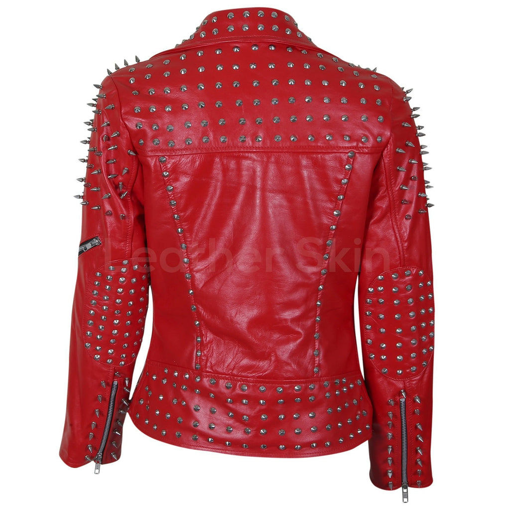 Women Red Leather Jacket with Cone and Tree Spike Studs ...