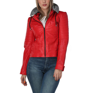 Women Red Leather Jacket with Gray Hood