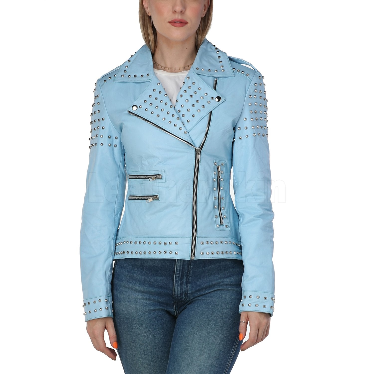 Women Sky Blue Studded Leather Jacket