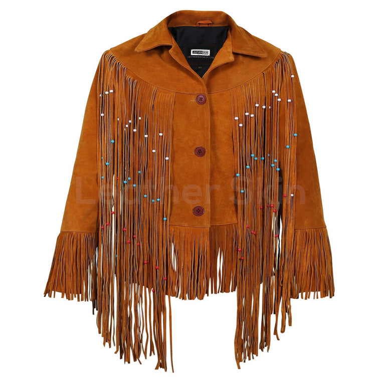 Women Tan Western fringes suede leather jacket with decorative beads