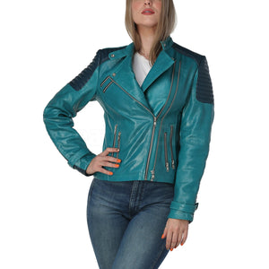 Women Teal Leather Jacket