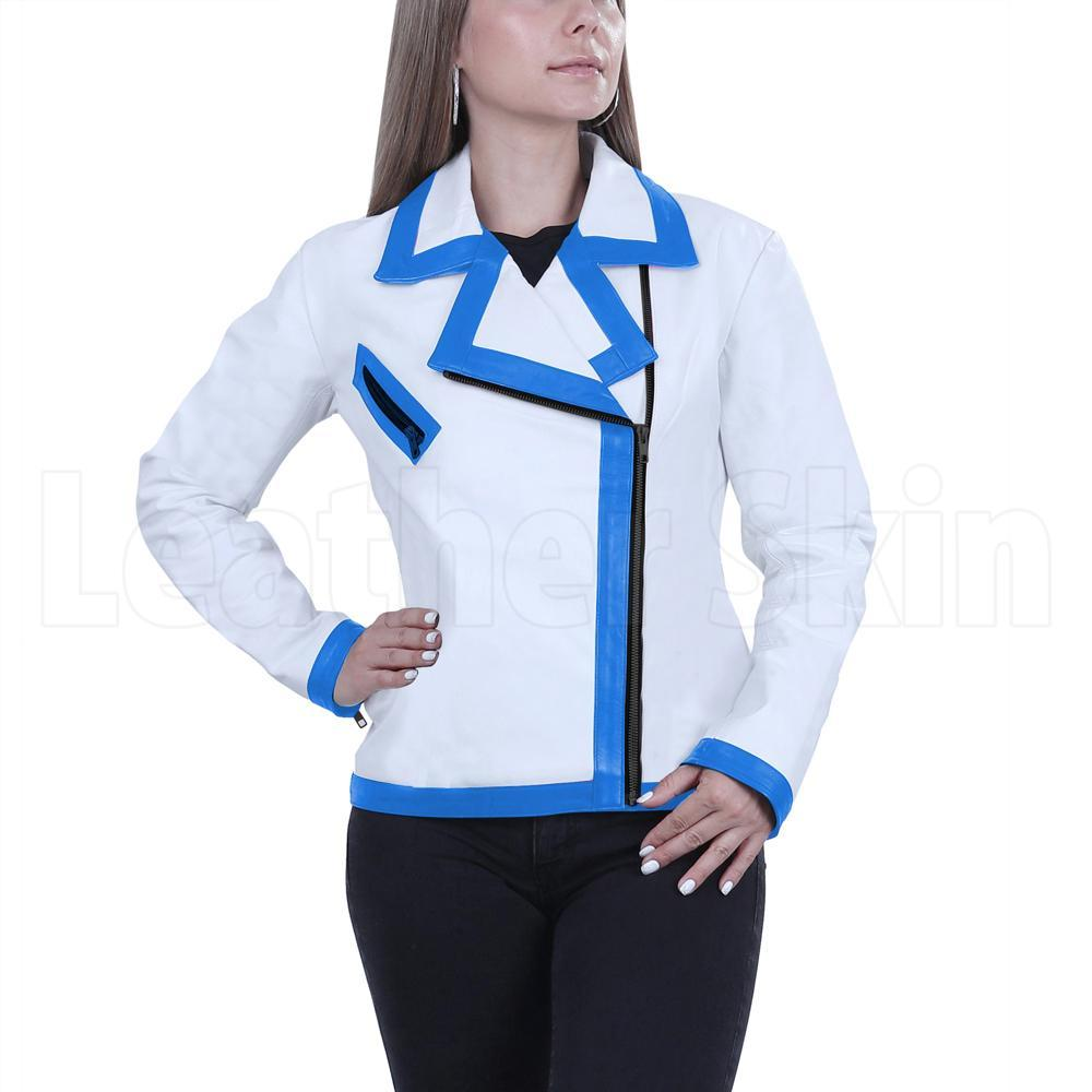 Women White Genuine Handmade Brando Leather Jacket