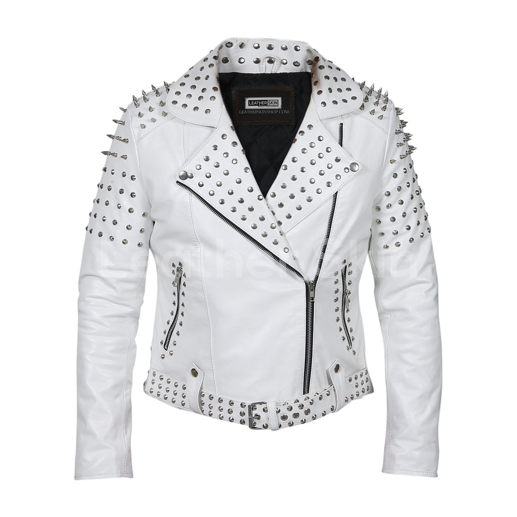 womens white spikes leather jacket
