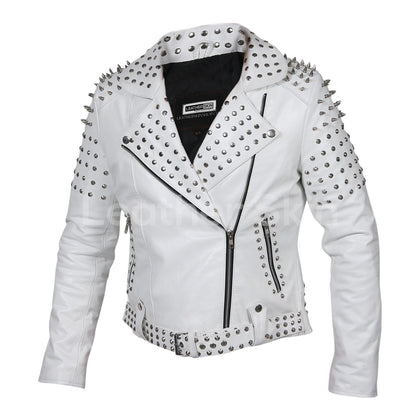 white leather jacket spiked womens