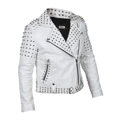 spike leather jacket womens white
