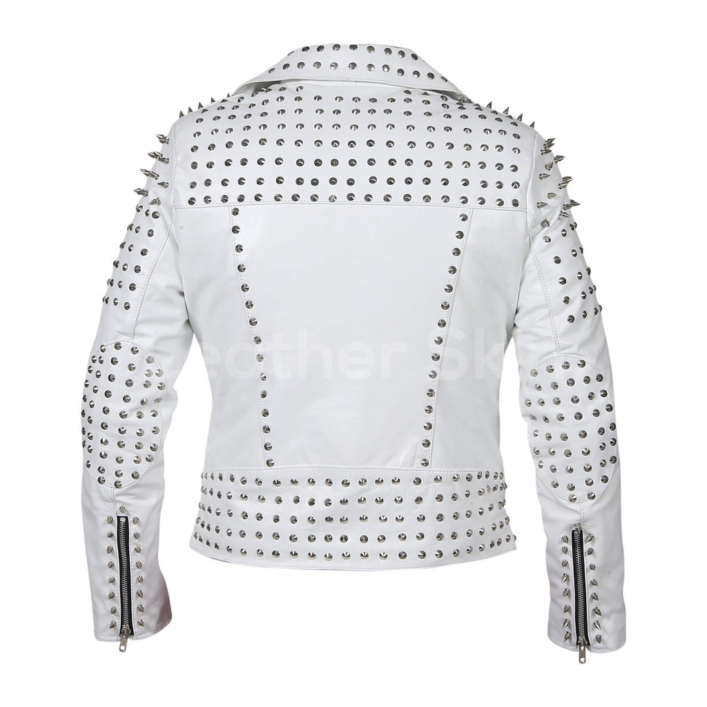 white womens leather jacket with spike studs