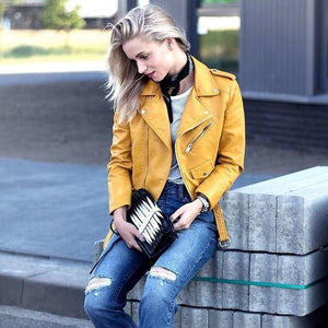 Women Yellow Brando Belted Leather Jacket with Shoulder Epaulettes