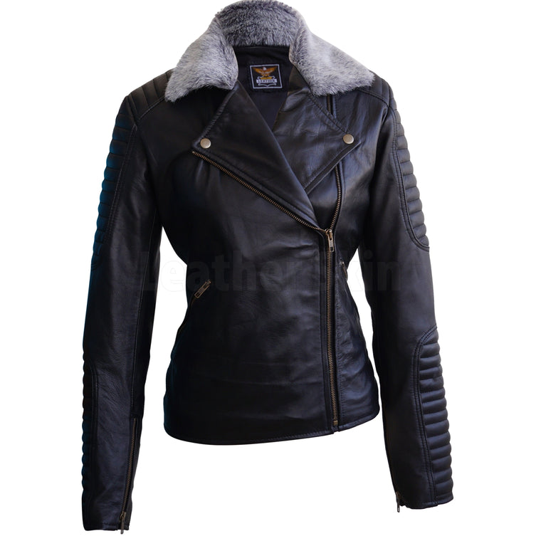 Women Black Hell Grey Fur Brando Padded Rib Quilted Genuine Leather Jacket