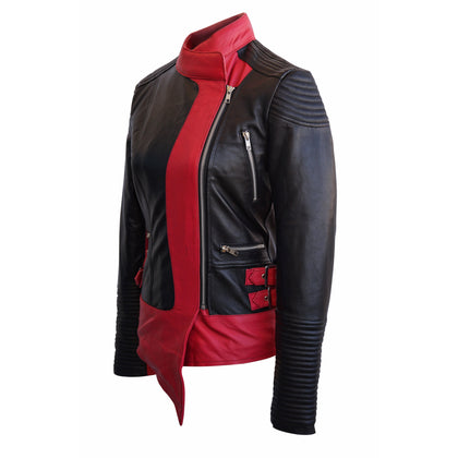 Leather Skin Women Black Pink Stripes Brando Genuine Leather Jacket