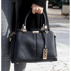 Women Black Tote Messenger Faux-Leather Handbag with Stylish Design Lookbook