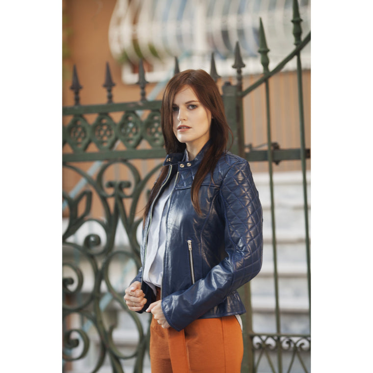 Women Blue Diamond Quilted Genuine Leather Jacket