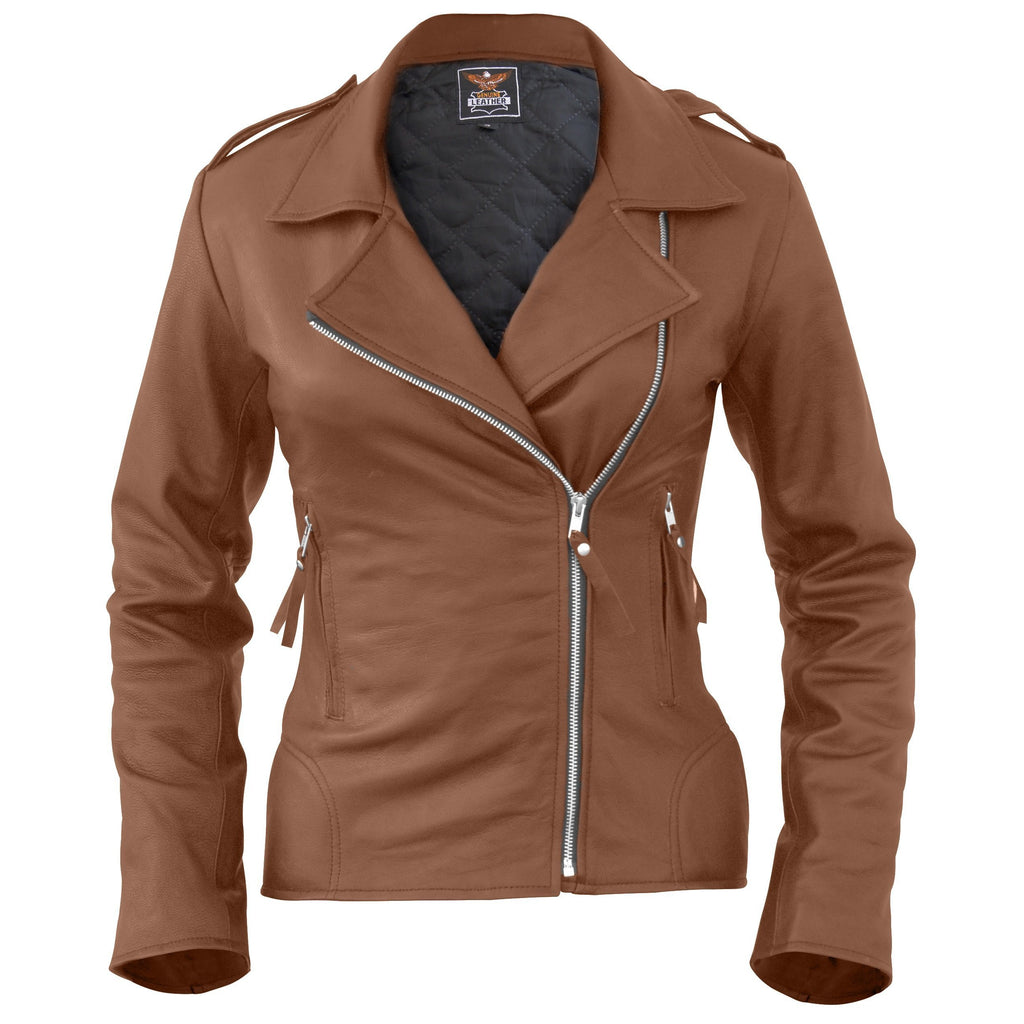 Leather Skin Women Brown Brando Synthetic Leather Jacket