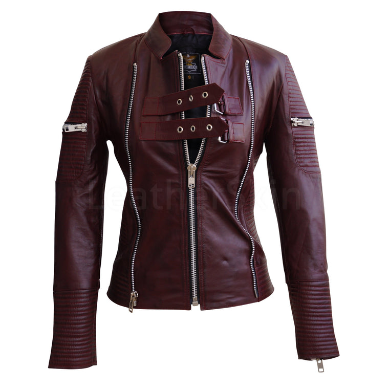 Women Distressed Maroon Red Sheep Skin Rib Quilted Genuine Leather Jacket