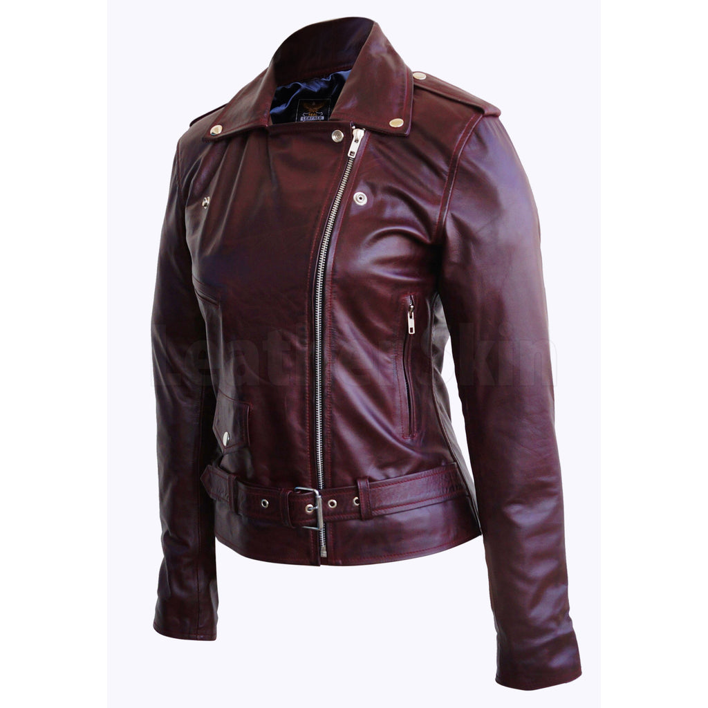 Women Distressed Red Brando Belted Sheep Leather Jacket with Epaulettes