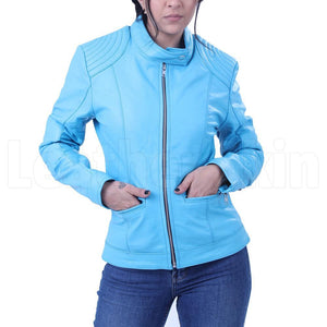 Women's Sky Blue Leather Jacket