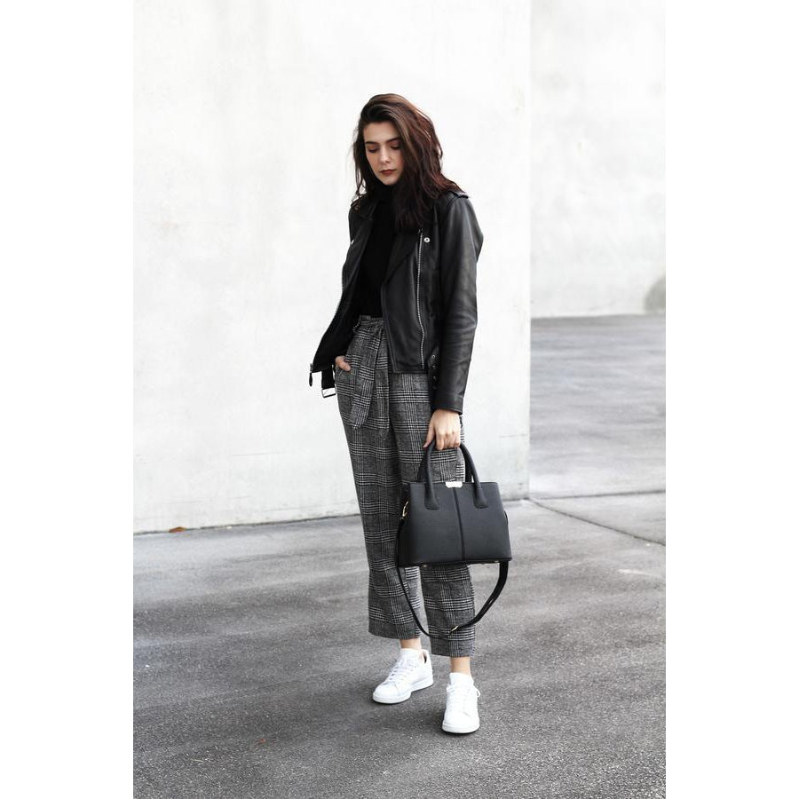 Women Lookbook Tote Messenger Faux-Leather Handbag