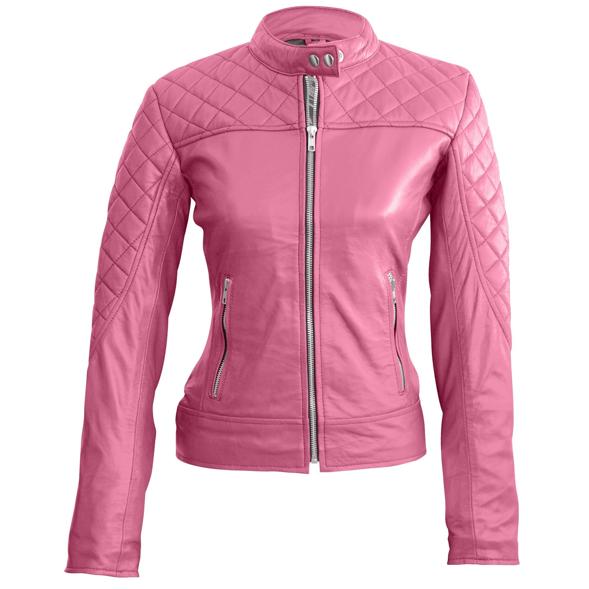 Leather Skin Women Pink Quilted Genuine Leather Jacket
