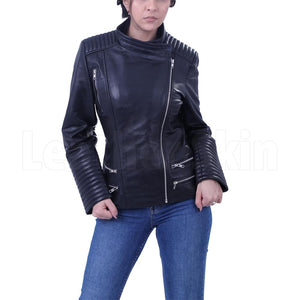 Women's Black Brando leather jacket