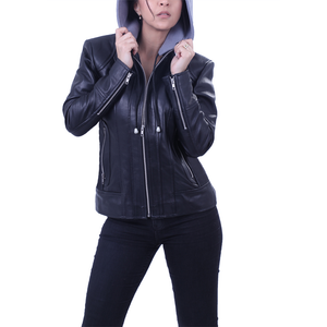 Women's Grey Hooded Leather jacket