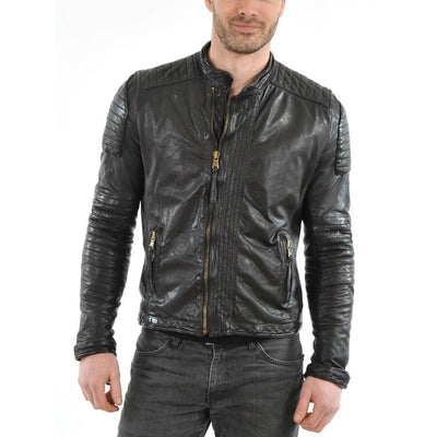 Men Black Authentic Lamb Skin Quilted Real Leather Jacket