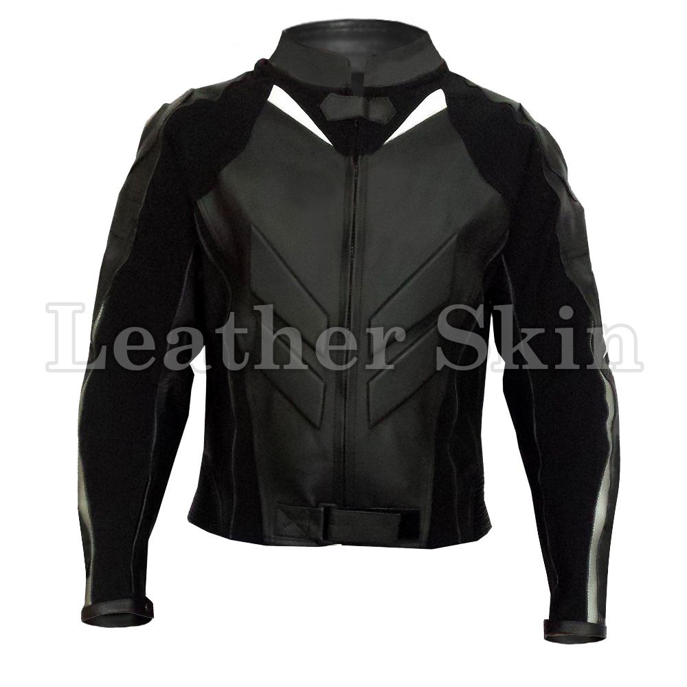 Black Genuine Motorcycle Biker Racing Premium Genuine Real Leather Jacket