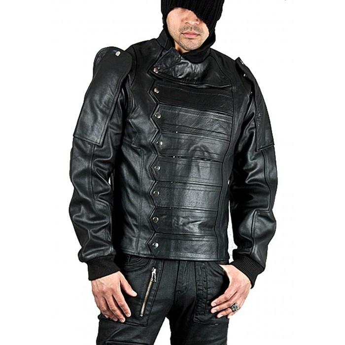 Leather Skin Men Black Military Leather Jacket with Strap Front Closure