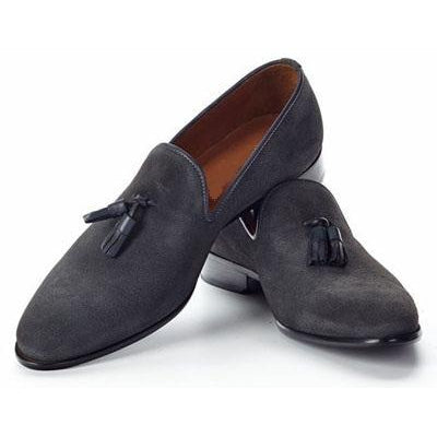 Men Gray Tassel Suede Moccasins Leather Shoes