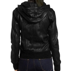 Leather Skin Women Black Hooded Hoodie Front Pockets Genuine Real Leather Jacket