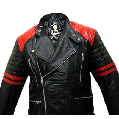 Brando Black Red Padded Power Shoulders Motorcycle Biker Genuine Leather Jacket