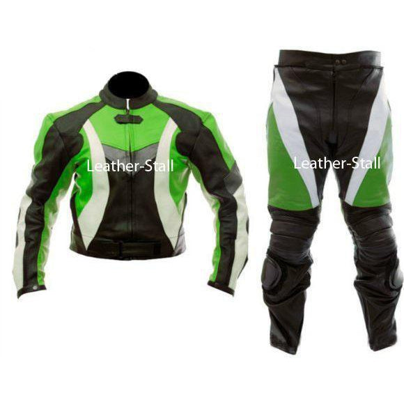 Leather Skin Green & Black Biker Motorcycle Genuine Leather Jacket Trouser Suit