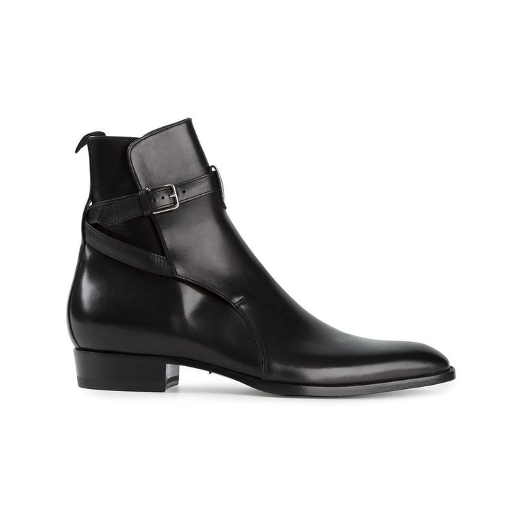Men Black Jodhpurs Genuine Handmade Leather Shoes