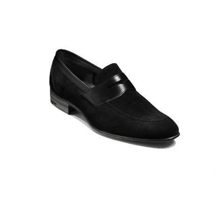 Men Black Penny Loafer Suede Leather Shoes