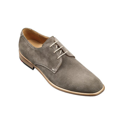 Men Gray Grey Derby Suede Leather Shoes with White Laces