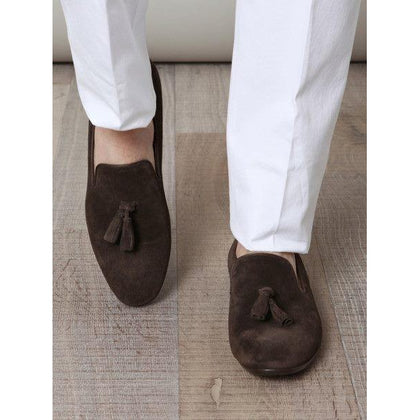 Men Brown Tassel Suede Leather Moccasins Shoes