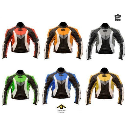 New Mens Motorcycle Biker Leather Jacket Red Orange Gray Yellow Green Blue
