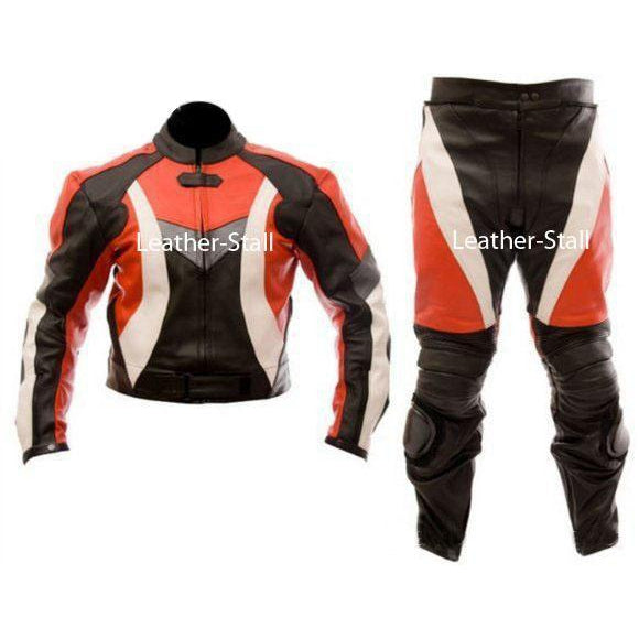 Leather Skin Red & Black Biker Motorcycle Genuine Leather Jacket Trouser Suit