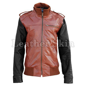 Leather Skin Brown Genuine Leather Jacket with Black Sleeves