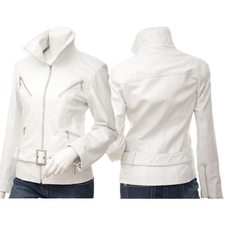 Leather Skin Women White Angel Belted Premium Genuine Leather Jacket