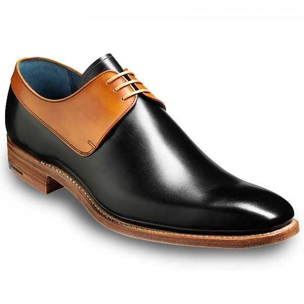 Men Black Brown Derby Laces Genuine Leather Shoes Black