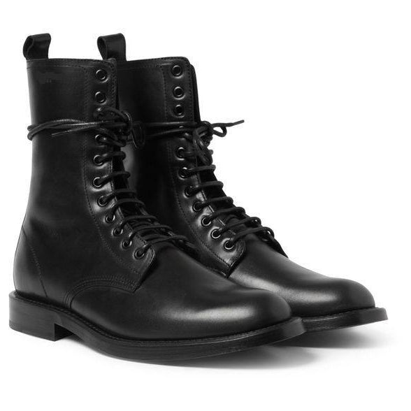 Men Black Military Lace Up Genuine Leather Boots