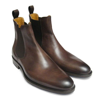 Men Brown Chelsea Pull On Genuine Leather Ankle Boots