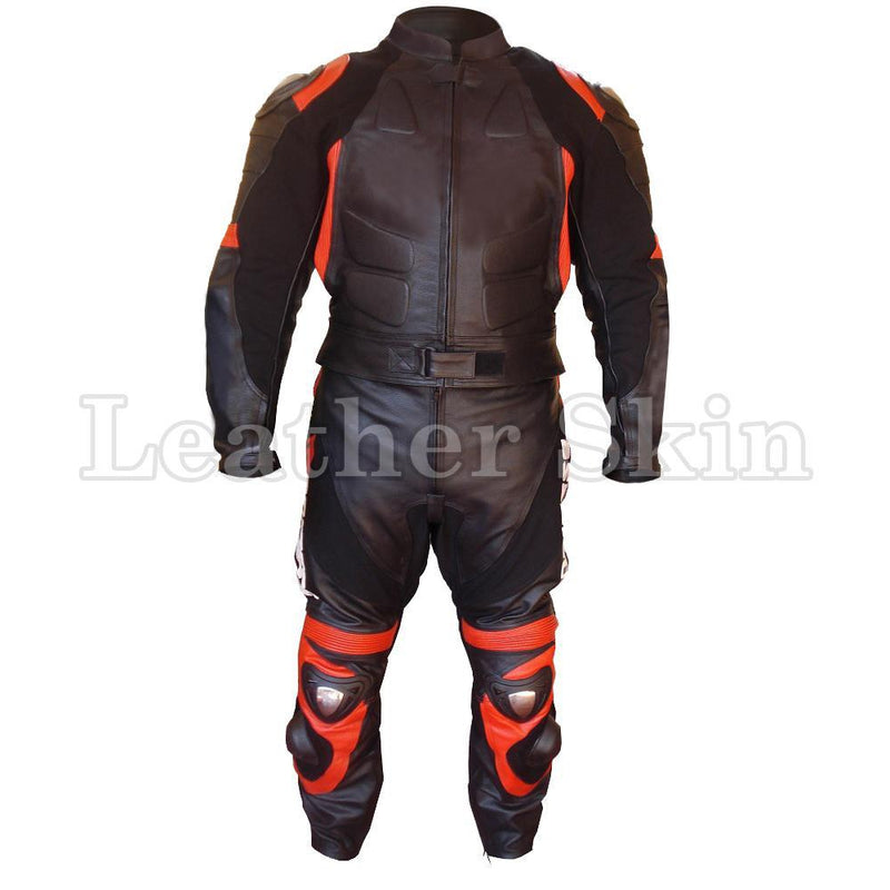 Leather Skin Black Biker Motorcycle Premium Genuine Leather Jacket Trouser Suit with Orange Stripes