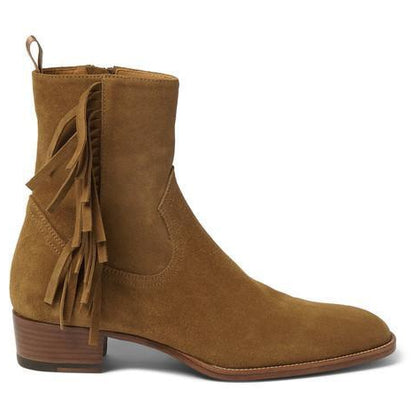 Men Brown Ankle Suede Fringes Fringed Zipped Leather Boots