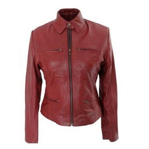Leather Skin Women Maroon Premium Genuine Leather Jacket