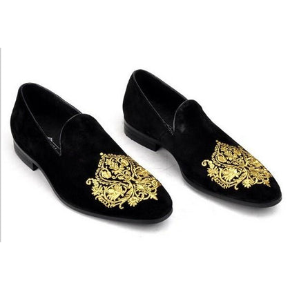 Men Black Velvet Handmade Shoes with Gold Embroidery