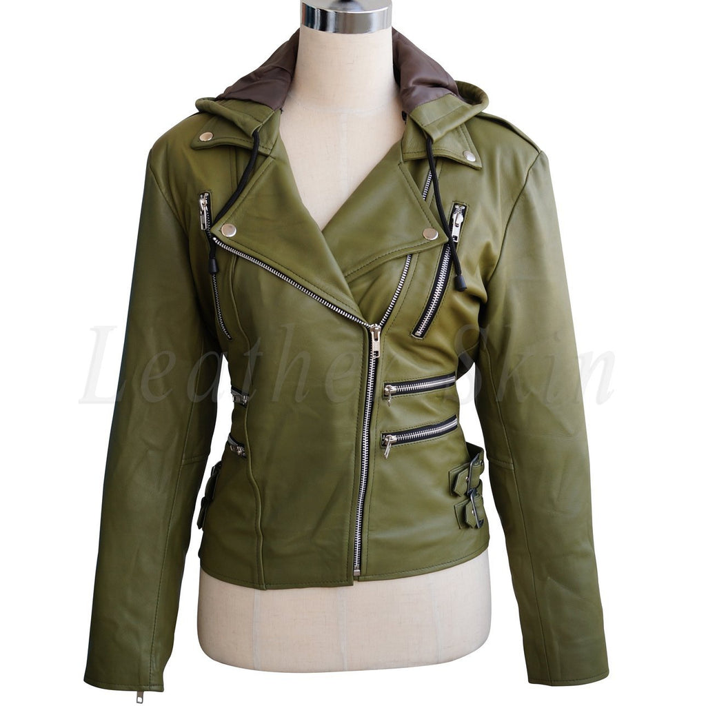 Women Olive Green Brando Detachable Hooded Hood Genuine Leather Jacket