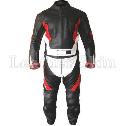 Leather Skin Black Biker Motorcycle Premium Genuine Leather Jacket Trouser Suit with Red White Stripes