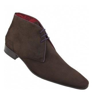 Men Brown Suede Leather Shoes with Black Outsole